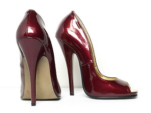 6ihf Patent Leather Open Toe Pumps - sz7.5